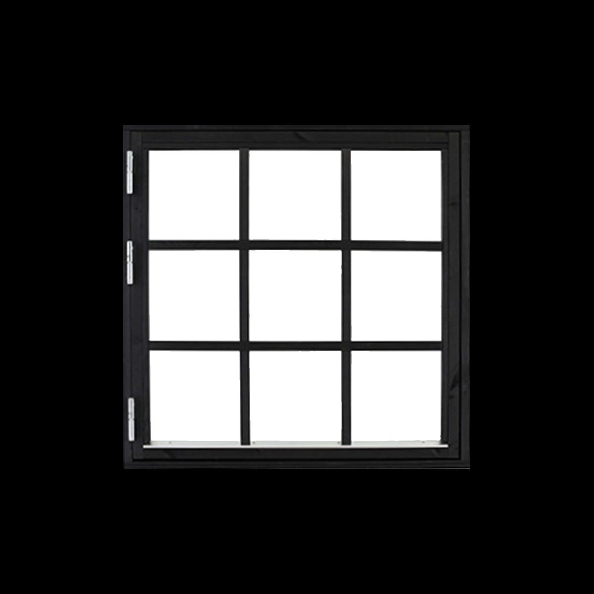 svarta fönster med spröjs